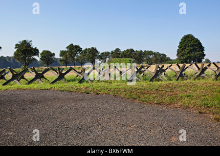 Anti-Tank barriers, Fort MO-S 19 Alej, Museum of the fortifications, Hlucin-Darkovicky - Stock Photo