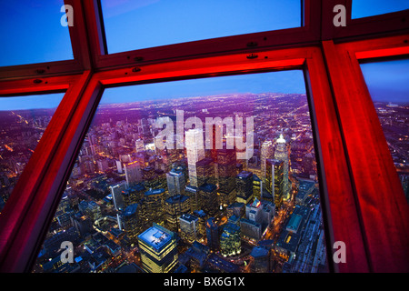 View of downtown Toronto skyline taken from CN Tower, Toronto, Ontario, Canada, North America - Stock Photo