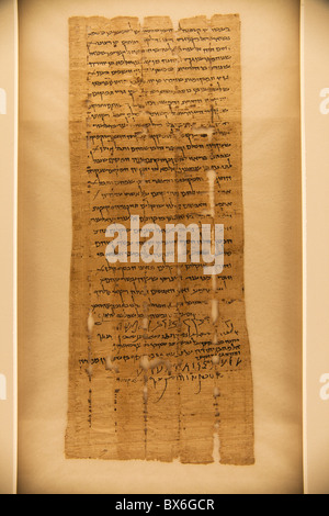 Bar Kokhba, original Dead Sea Scroll 5/6 Hev44, 134 CE, a deed with 4 signatures - Stock Photo
