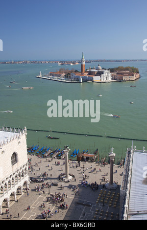 View of Isole San Giorgio Maggiore from top of St. Marks Belltower, Venice, UNESCO World Heritage Site, Italy - Stock Photo