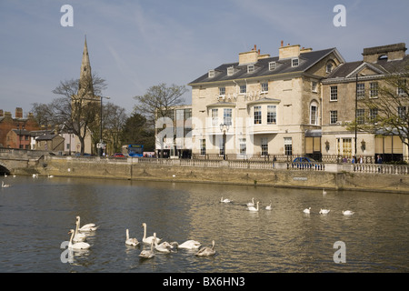 Swan Hotel and Great Ouse River, Bedford, Bedfordshire, England, United Kingdom, Europe - Stock Photo