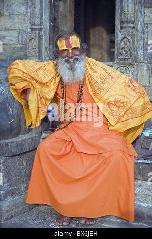 Sadhu (Holy Man) at Hindu pilgrimage site, Pashupatinath, Kathmandu, Nepal, Asia - Stock Photo