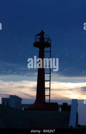 The light beacon at the entrance to AnPing Harbor Tainan, Taiwan. - Stock Photo