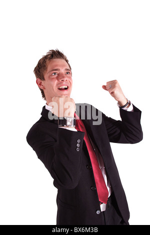 A smarting businessman jubilating. All isolated on white background. - Stock Photo
