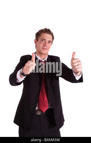 A smarting businessman praises someone. All isolated on white background.