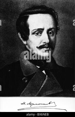 Lermontov, Mikhail Yuryevich, 15.10.1814 - 27.7.1841, Russian poet, anonymous portrait, Additional-Rights-Clearances - Stock Photo