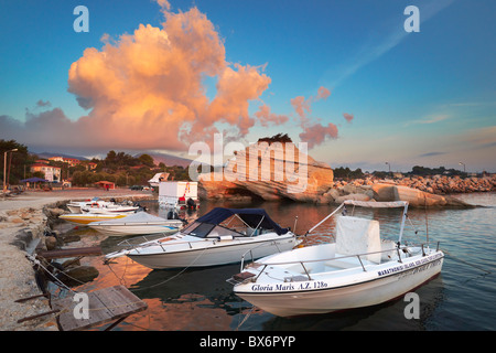 Greece - Zakynthos Island, Ionian Sea, fishing boat harbour at Laganas - Stock Photo