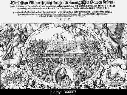 Lippold Ben Chluchim, circa 1550 - 28.1.1573, master of the mint and court Jew in Brandenburg, scene, his execution, - Stock Photo