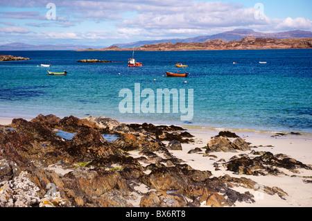 Small boats, Isle of Iona, Inner Hebrides, Scotland, United Kingdom, Europe - Stock Photo