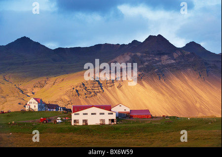 Farm near Hofn, East Fjords region (Austurland), Iceland, Polar Regions - Stock Photo