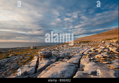 Limestone pavement and erratic boulders in the Burren, near Black Head, Co Clare, Ireland - Stock Photo