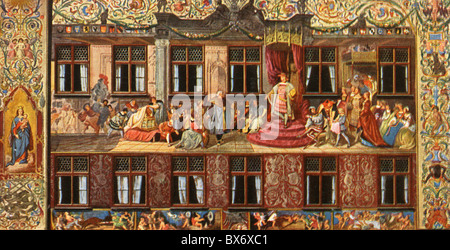 geography / travel, Germany, Augsburg, Fugger Houses, Maximilianstrasse, exterior view, detail, fresco by Hans Burgkmair, - Stock Photo