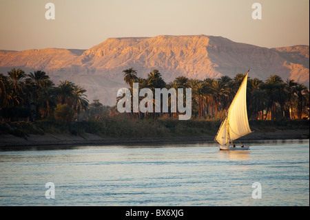 A stunning and beautiful image of a traditional Egyptian sail boat called a felucca on the Nile at sunset with mountains - Stock Photo