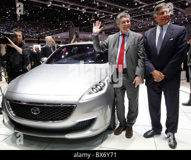 Ratan N. Tata, Paolo Pininfarina, Tata Prima, car - Stock Photo