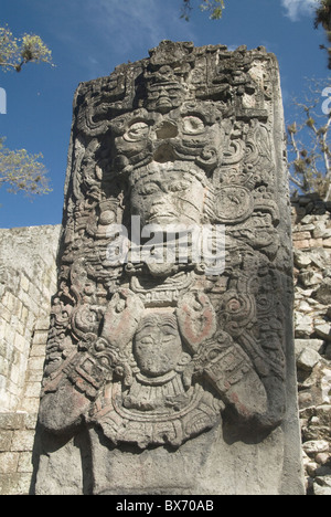 West Court, Stela P, Copan Archaeological Park, Copan, UNESCO World Heritage Site, Honduras, Central America - Stock Photo