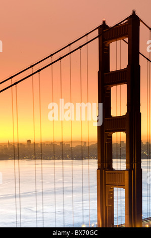 Usa, California, San Francisco, City Skyline and Golden Gate Bridge - Stock Photo