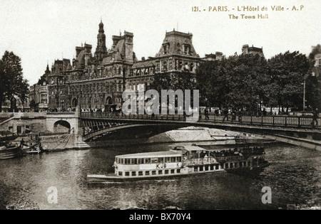 geography / travel, France, Paris, buildings, Hotel de Ville (Town Hall), exterior view, picture postcard, circa - Stock Photo