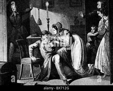 Kotzebue, August von, 3.5.1761 - 23.3.1819, German author/writer, death, Kotzebue is being murdered by Karl Ludwig - Stock Photo