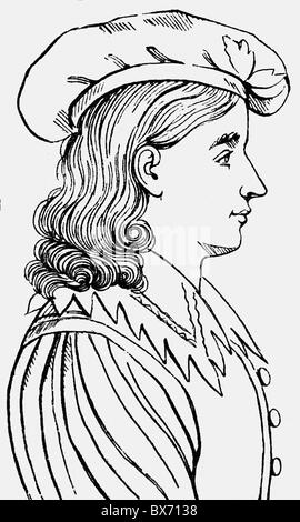Sand, Karl Ludwig, 5.10.1795 - 20.5.1820, German student, murderer of the dramatist August von Kotzebue, portrait, - Stock Photo