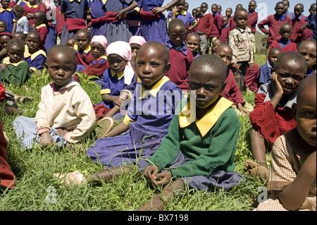 Schoolchildren, Ndogo Primary school, Gilgil district, Rift Valley, Kenya, East Africa, Africa - Stock Photo
