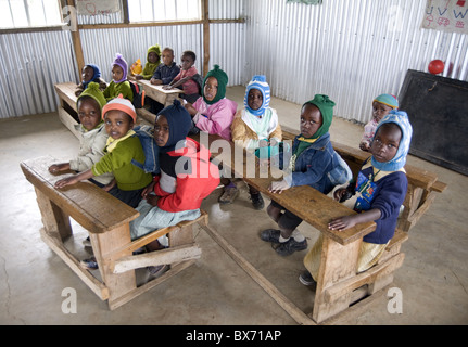 Nursery schoolchildren in new classroom, Ngeteti Primary School, Rift Valley, Kenya, East Africa, Africa - Stock Photo
