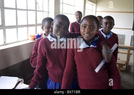 Schoolgirls, Simba Primary School, Rift Valley, Kenya, East Africa, Africa - Stock Photo