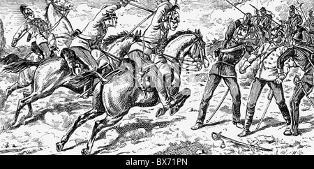 events, Second Schleswig War 1864, the cuirassier Franz Schowanek of Cuirassier Regiment No. 4 prevents Danish soldiers - Stock Photo