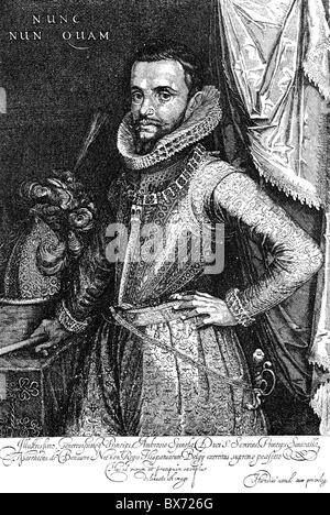 Spinola, Ambrosio, 1569 - 29.9.1630, Spanish general, half length,  copper engraving by Hendrik Hondius, 1st quarter - Stock Photo
