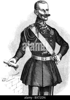 Charles Albert, 2.10.1798 - 28.7.1849, King of Sardinia 1831 - 1849, half length, wood engraving, 19th century, - Stock Photo