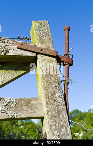 Old Wooden Rustic Gate at Entrance to Field - Stock Photo