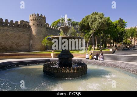 Fountain at the gated city wall, UNESCO World Heritage site, Baku, Azerbaijan, Central Asia, Asia - Stock Photo