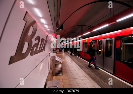 Bank Docklands Light Railway DLR Station Platform, London, England, UK - Stock Photo