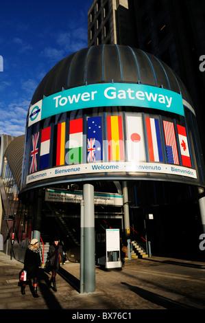 Entrance to Tower Gateway Docklands Light Railway DLR station, London, England, UK - Stock Photo