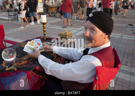 Psychic reading cards with crystal ball in Mallory Square, Key West, Florida, United States of America, North America - Stock Photo