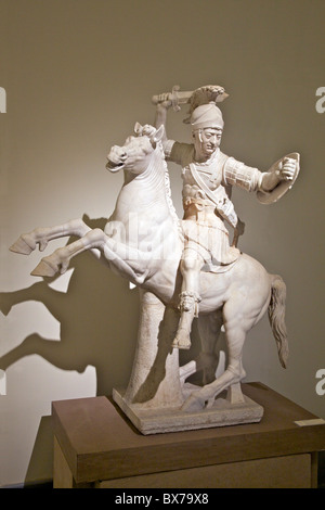 Marble sculpture of warrior on horseback dating from 2nd century AD, National Archaeological, Museum, Naples, Campania, - Stock Photo