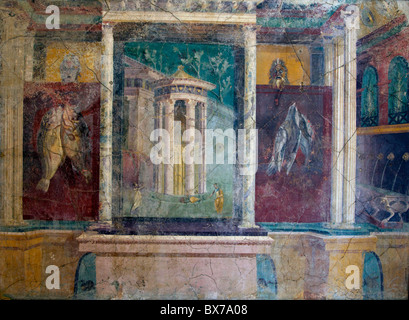 Frescoes from Pompeii, National Archaeological Museum, Naples, Campania, Italy, Europe - Stock Photo