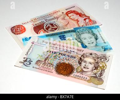 UK Island Banknotes. - Stock Photo