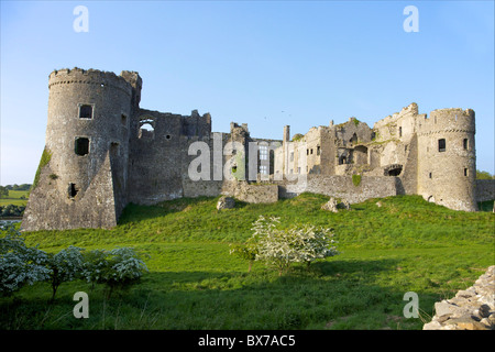 Carew ruined castle in spring sunshine, Pembrokeshire National Park, West Wales,Wales, United Kingdom, Europe - Stock Photo