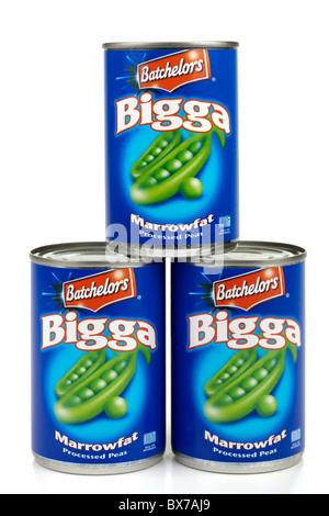 Three tins of Batchelor's Bigga Marrowfat peas - Stock Photo