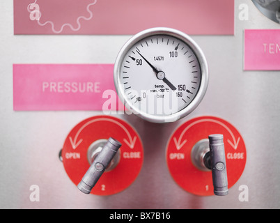 Gauges and valves at gas storage plant - Stock Photo