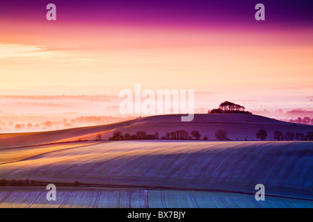 Frosty winter sunrise from Walker's Hill over the Vale of Pewsey in Wiltshire, England, UK - Stock Photo