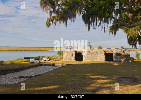 Ruins of Kings Magazine at Fort Frederica National Monument on St Simons Island Georgia - Stock Photo