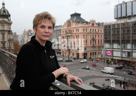 Comparative image, Velvet Revolution,  Magdalena Kroutova, landlady, room, balcony, Melantrich building - Stock Photo