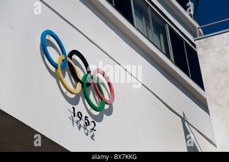 The Olympic rings at the Olympic Stadium which was home to the Summer Olympic games in 1952 in Helsinki, Finland. - Stock Photo