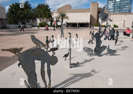 urban sculpture in front of the Tel Aviv museum. Israel - Stock Photo