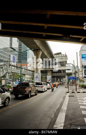Traffic congestion on Sukhumvit Road in Bangkok in Thailand - Stock Photo