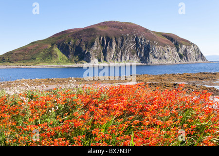 Davaar Island at the mouth of Campbeltown Loch seen across Kildalloig Bay, on the Kintyre Peninsula, Argyll & Bute, - Stock Photo