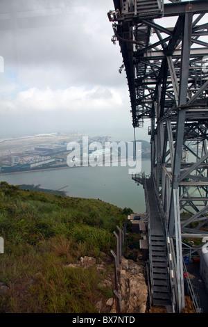 Ngong Ping 360 skyrail cable car lift on Lantau Island Hong Kong - Stock Photo