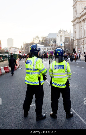 Metropolitan riot police on duty in London. - Stock Photo