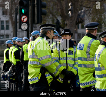 A line of Metropolitan Police Officers in London. - Stock Photo